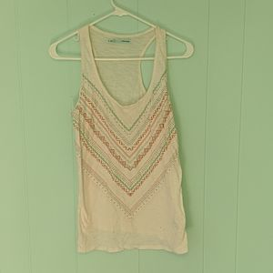 Maurices White Beaded Tank Top SZ M